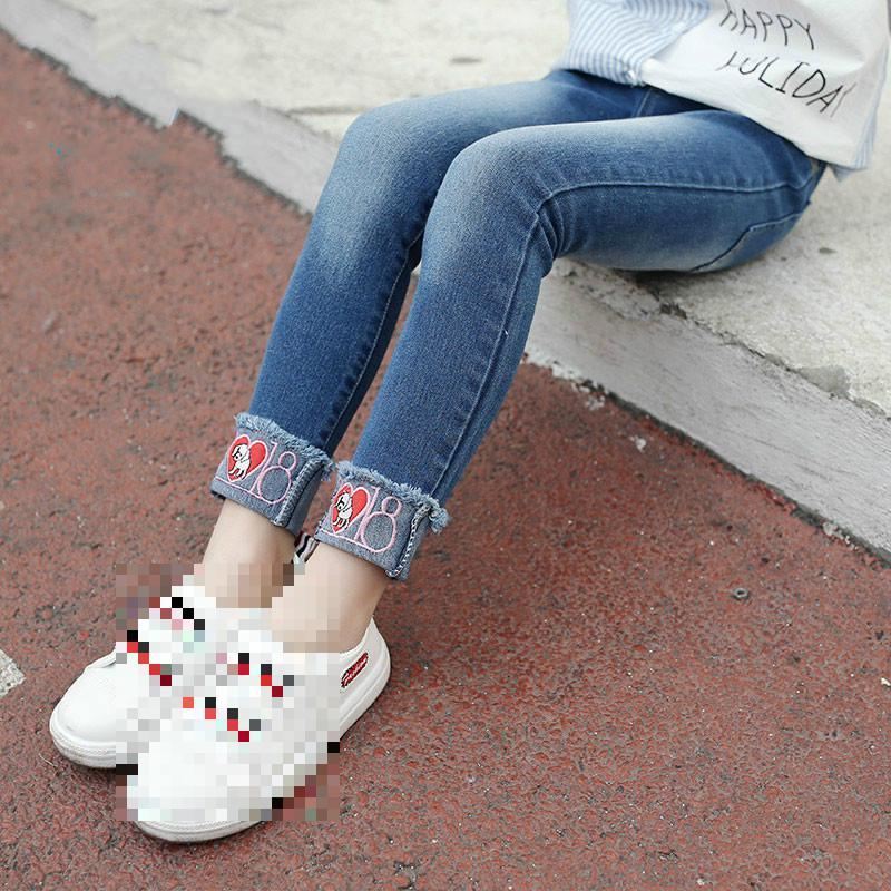 Student Jeans Girls Kids Clothes 2018 Autumn Spring Teenage Girls Fashion Denim Trousers Skinny Toddler Girl Jeans School Pants цена