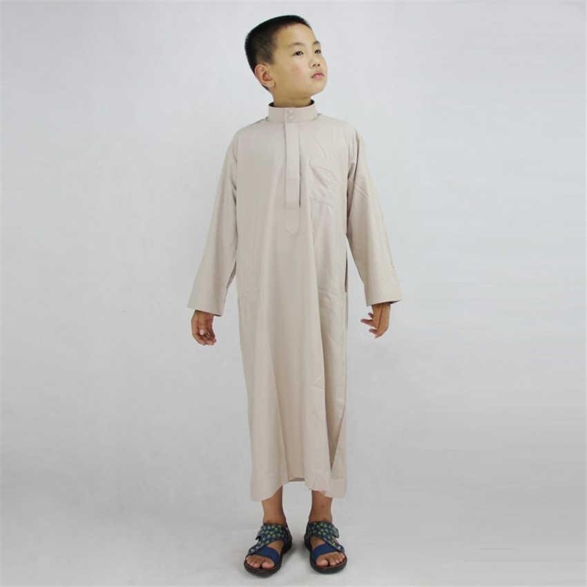 5a2e3877fff8d Muslim Boys Islamic Clothing Arab Dubai Turkey Malaysia Kaftan Muslim Abaya  Children Islam Prayer Eid Long Clothes for Boy Thobe