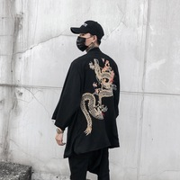 Men Japanese Kimono Cardigan Chinese Dragon Jacket Coat Top Outwear Retro Casual Black