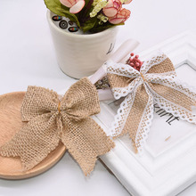 5pcs Decor Bows Jute Burlap Hessian Lace Christmas for Vintage Wedding Birthday Party DIY Gift Boxes Wreath