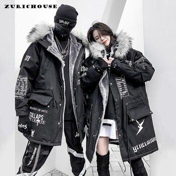 Abrigo de invierno ZURICHOUSE Hip-hop para mujer, largo cuello de piel, cálido Parka, estilo callejero 2020, chaqueta de lana con capucha para mujer