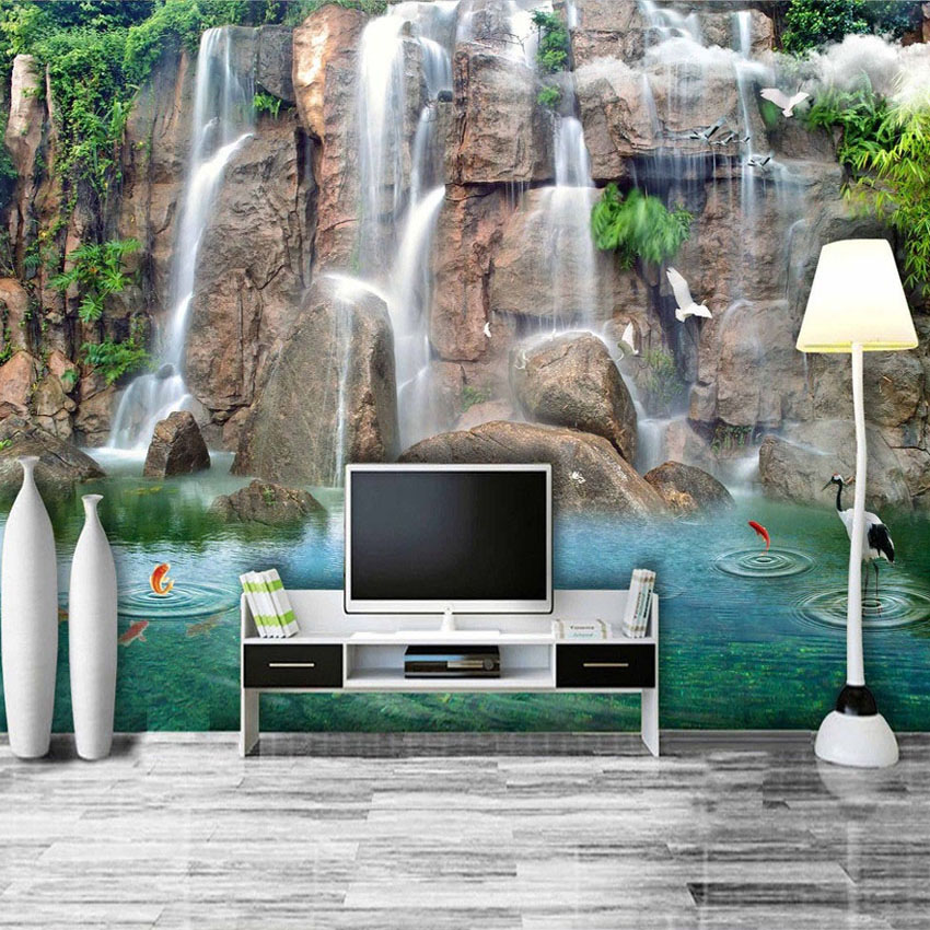 Custom Wall Mural 3D Waterfall Landscape Painting Photography Background Wall Living Room Sofa TV Backdrop Non-woven Wallpaper