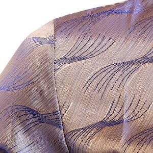 Image 5 - Camisa de cetim de seda brilhante dos homens glitter suave ondinha de água impressão camisas vestido masculino discoteca festa de discoteca palco camisa chemise homme