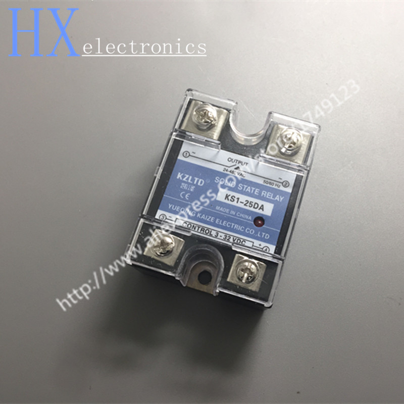 Free shipping 2PCS SSR-25DA DC-AC 25A Solid State Relays 220V AC Output 3-32V DC to 24-480 V AC 12V Solid State Relay