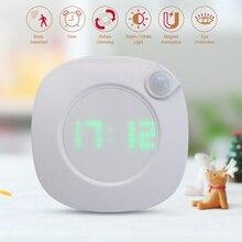 Motion Sensor Nachtlicht Mit Uhr Batterie Power PIR Sensor Zwei Beleuchtung Farbe Einstellbare Helligkeit Magnet Nacht Lampe