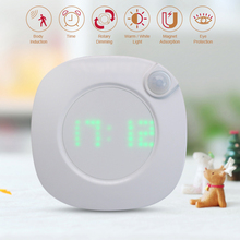 Motion Sensor Night Light With Clock Battery Power PIR Sensor Two Lighting Color Adjustable Brightness Magnet Night Lamp