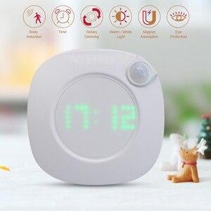 Image 1 - Motion Sensor Night Light With Clock Battery Power PIR Sensor Two Lighting Color Adjustable Brightness Magnet Night Lamp