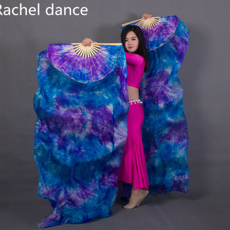 China Real 100% Silk Oriental Dancing Gradient Fire Fan Belly Dancing Stage Performance Property Dance Fan Multi-Color 1Pair