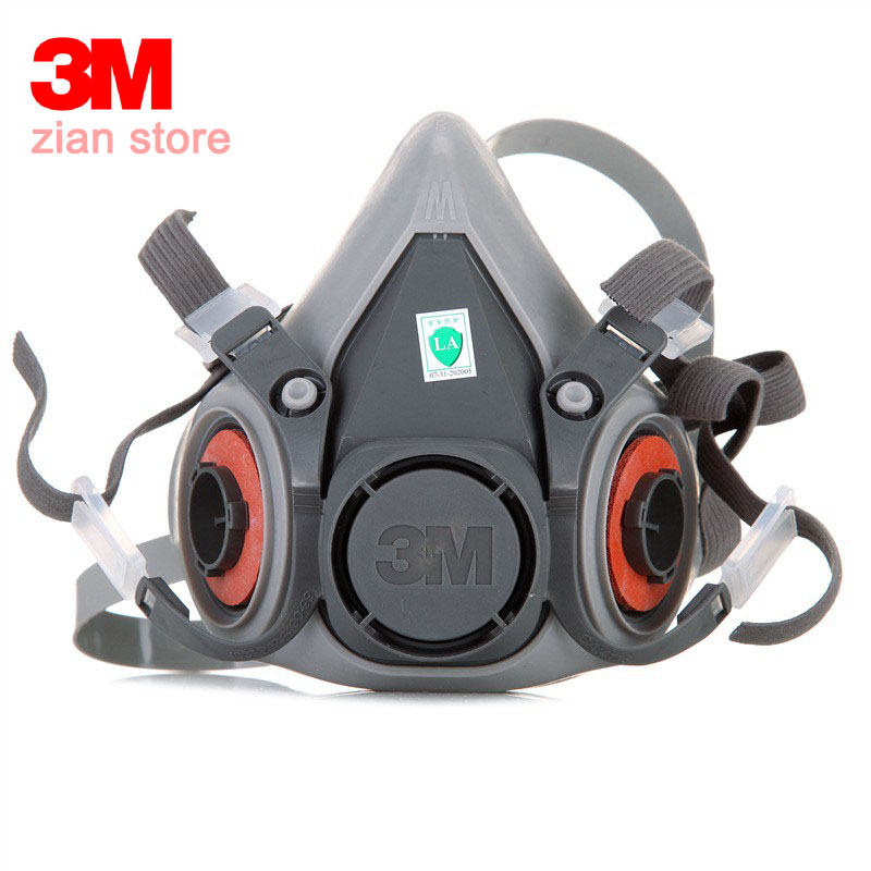 3M 6200 Genuine Respirator Gas Mask Chemical Filter Paint Spray Half Face For Work Safety Construction Mining Car Face Mask