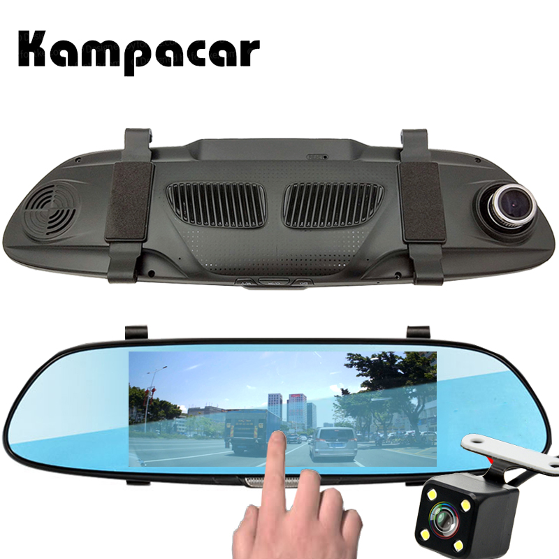 Kampacar Car Dvr Dash Cam 7.0 inch Touch Mirror Camera Video Recorder Registrator Auto Rear View Mirror With Recorders For Cars