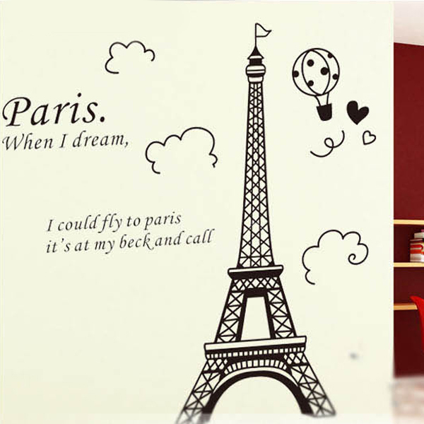 aliexpresscom buy 1 set 2535 inch removable pvc decals eiffel tower decorative wall stickers art home decoration from reliable sticker roll suppliers on - Eiffel Tower Decor For Bedroom