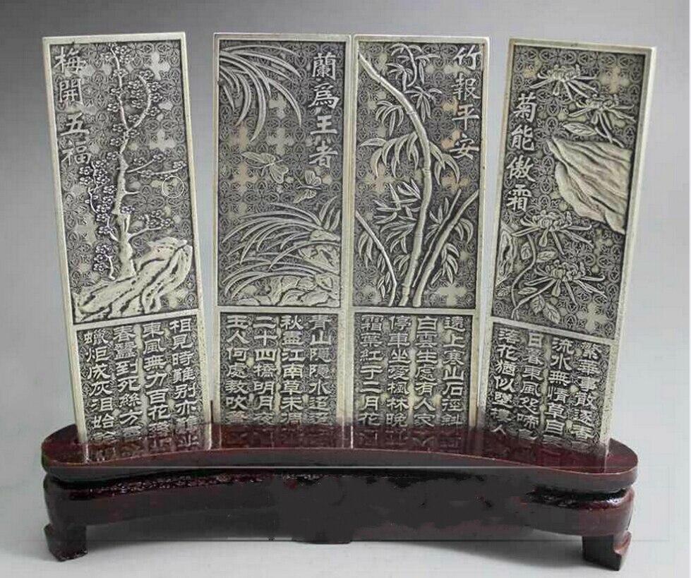 Merveilleux vieux tibet argent 4 écran avec Plum, orchidée, bambou, chrysanthème statue SUR socle en bois