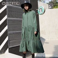 CHICEVER 2018 Spring Women Dress Female Hem Pleated Long Sleeve Loose Big Size Black Dresses Clothes