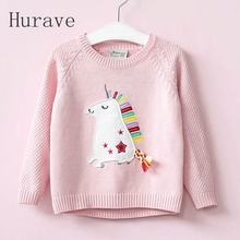 Hurave 2017 fashion girls kids sweater print cartoon sweater for toddler children clothing autumn