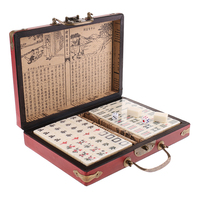 Chinese Antique Mahjong Board Game 144 Mahjong in 23x16.2x4.5cm Wooden Box for Pinic Camping Family Fun Games