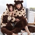 2016 Conjuntos de Pijama Casal Inverno Coral Grossa de Veludo Macio E Confortável Quente Homens Encapuzados Pijama Bonito Sleepwear Pijama Masculino