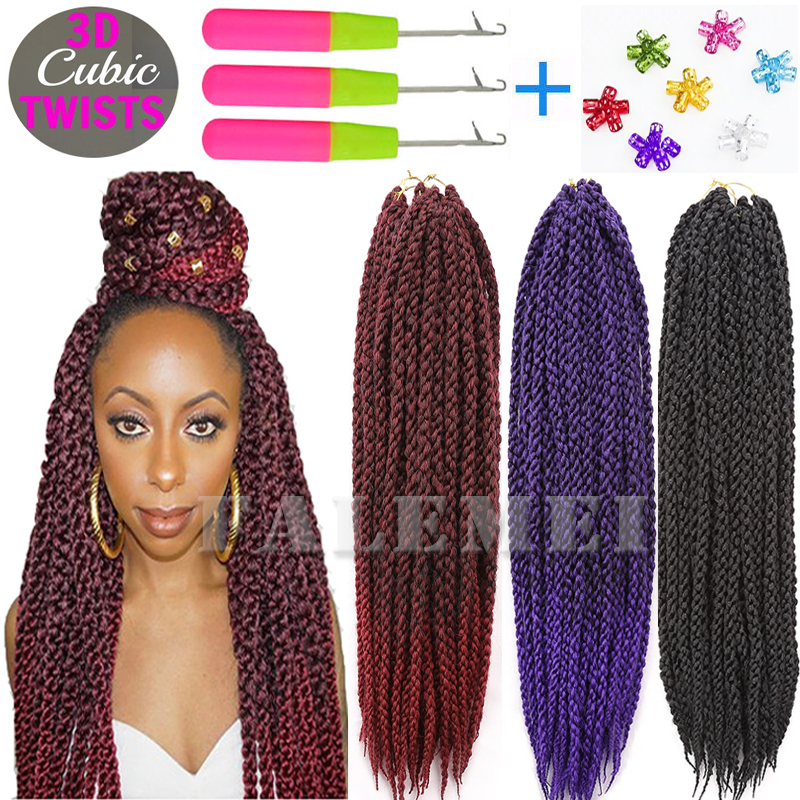 3d Cubic Twist Crochet Braids Hair Extensions Ombre Braiding Crochet