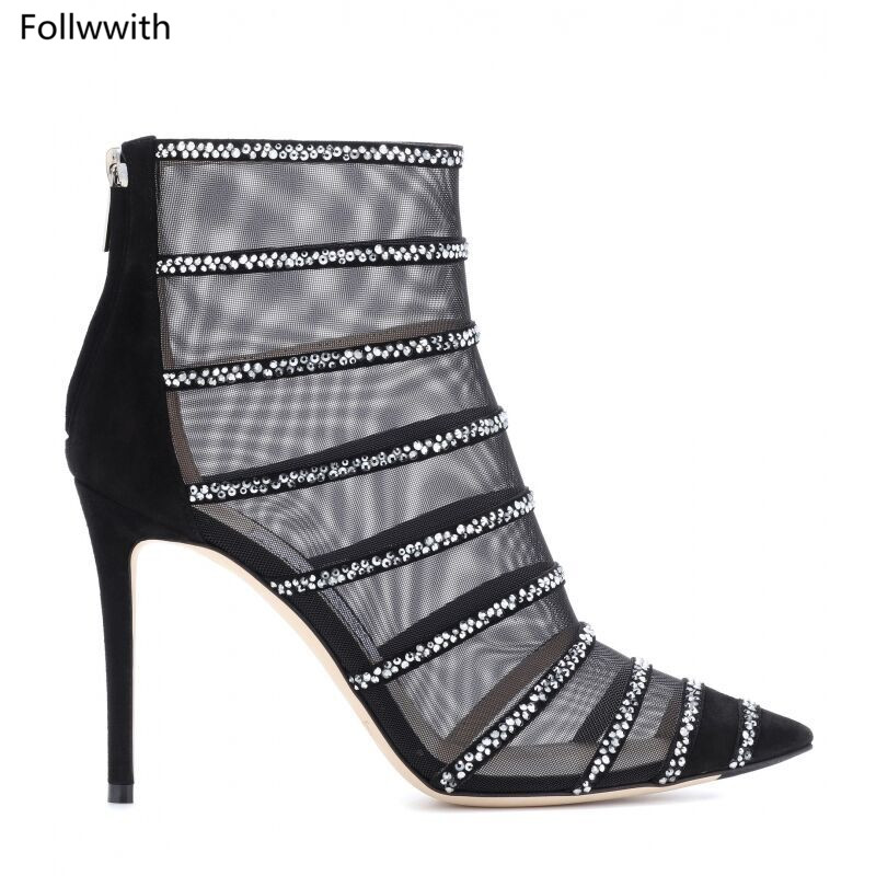 Sexy Bout Cheville Haut Mesh Bottes Chaussons Pic De Noir Stylet En Pointu Talons Suede As Chaussure Femmes Sandales Gladiateur Cage Cristal Orné rOqrPwCx