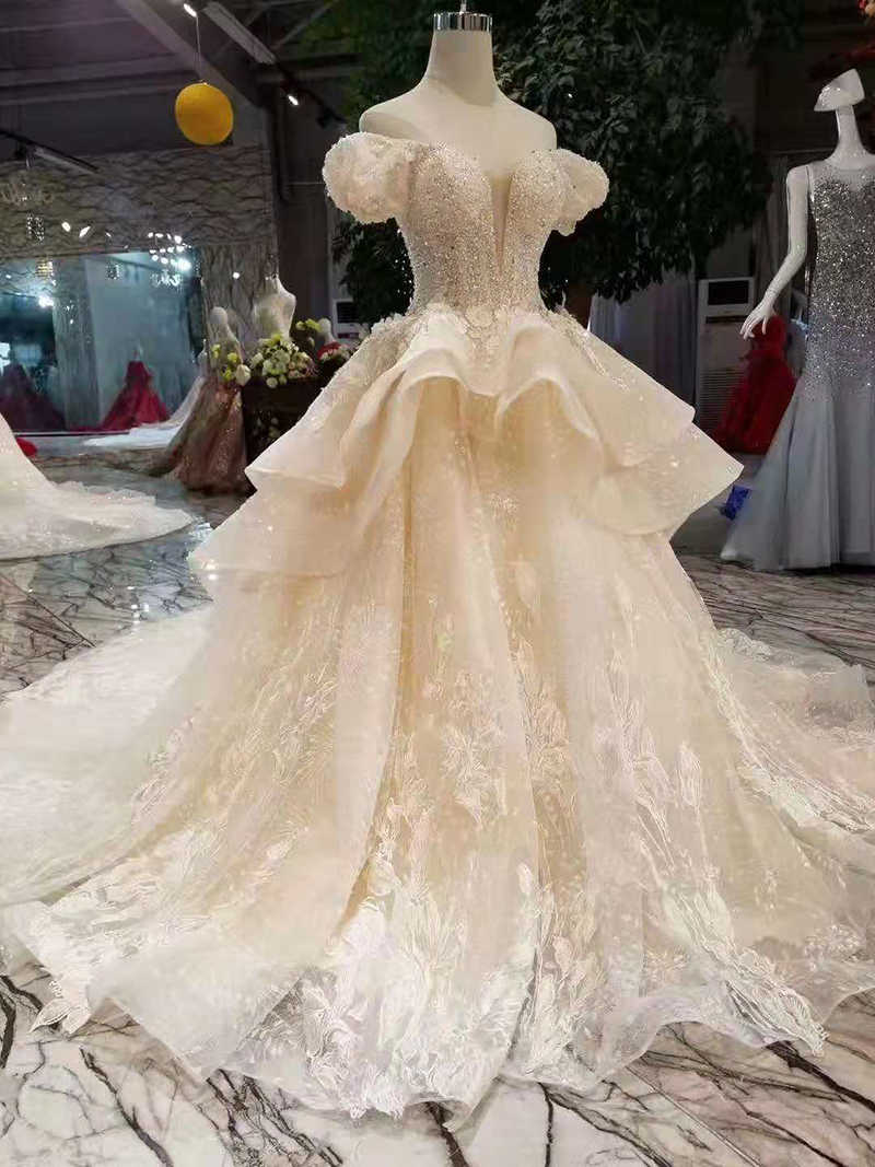0244d0528f9 ... LS11034 fairy wedding dresses multi-layers skirt sweetheart puffy short  sleeves wedding gowns summer small ...