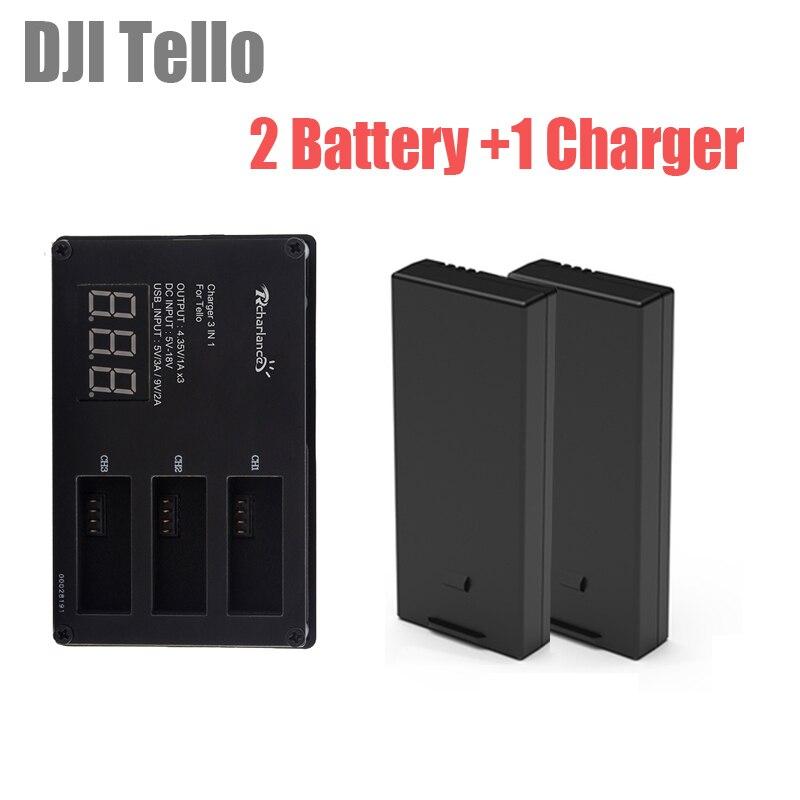 2 pièces batterie DJI tello batterie de vol tello Lipo + chargeur de Batteries à chargement rapide à 3 voies pour moyeu accessoires de Drone tello EDU