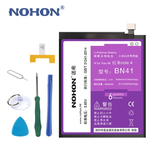 New NOHON 4000mAh Battery For XiaoMi RedMi Note 4 HongMi Note4 3.85V High Real Capacity Replacement Bateria With Package + Tools