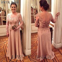 Elegant Chiffon Plus Size Mother Of The Bride Dresses Long Sleeves A Line Vintage Lace Cheap 2018 Prom Dress Formal Evening Wear