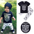 Summer Style 2016 Toddler Kids Boy Cartoon Transformers Costume T-shirt Tops + Pants 2pcs Outfits
