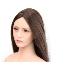 1/6 Scale Loli Female Head Sculpt Movable Eyes for Female Pale Color Slender hairstyle Action Figure Doll
