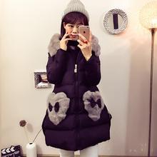 2016 зима куртки ватные женщин средней длины теплый лук мех шить карман хлопка-ватник большой меховой воротник вниз пальто F3690
