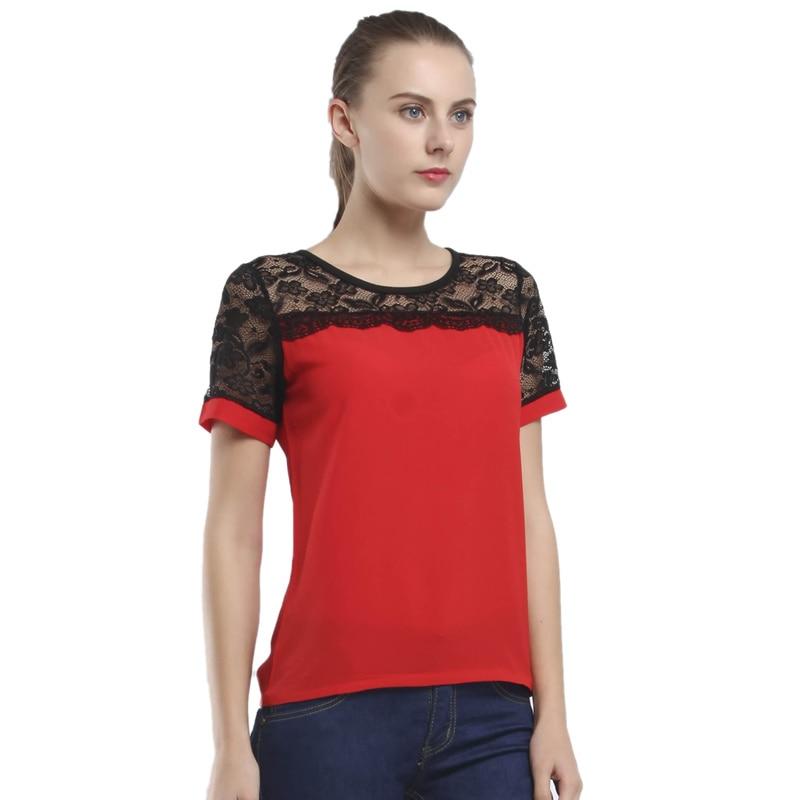 для женщин блузки для малышек летние кружево шифоновая блузка повседневное тонкий рубашка топы корректирующие мода сорочка роковой рубашки для мальчиков размеры плюс Размер 5xl красный, белый розовый