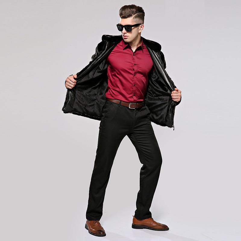HONGZUO 2017 Neue Ankunft Mode Männer Pelzmantel Mit Kapuze Luxus - Herrenbekleidung - Foto 2