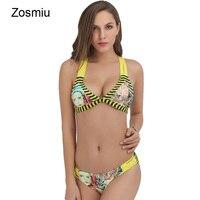 Zosmiu Gloednieuwe Gestreepte Bikini Set Beach Zwempakken Sexy Backless Bechwear Gevlochten Vrouwen Hoofd 3D Prints Thongs Biquini Badmode