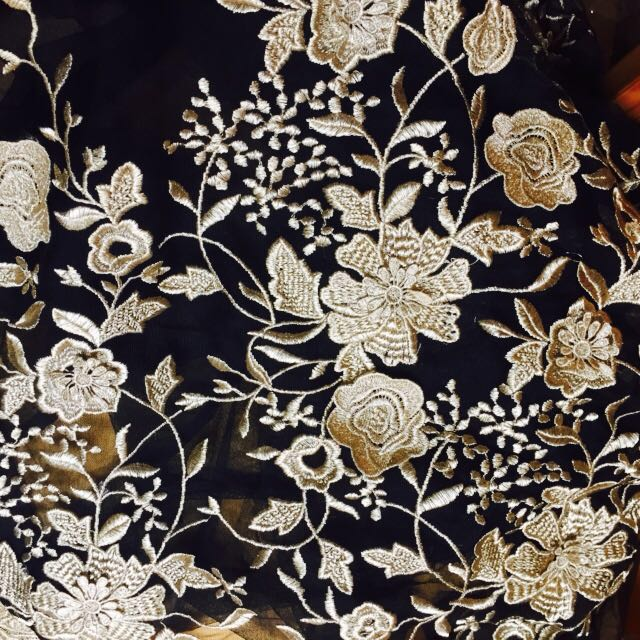 black mesh lace fabric with gold embroideries, 10 yards-in Lace from ...