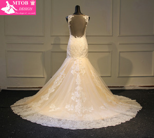 Image 2 - Elegante laço sereia vestido de casamento 2019 champanhe vestido de casamento ver através sem costas vestidos de casamento do vintage mtob1730