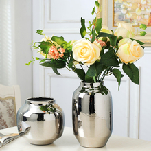 Europe Electroplate Silver Ceramic Vase Flower Arrangement Artwork Vases tabletop cylinder large vase Home Decoration