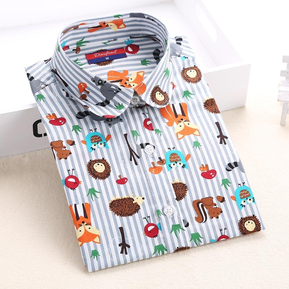 Dioufond Plus Size Shirt Kvinder Bomuld Bluse Mode Langærmet Dame Toppe Blomsterprint Kvinder Bluser Casual Kvinde Shirt 5XL