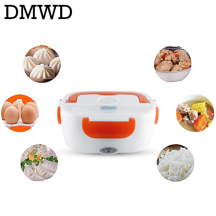 DMWD Electric Food Heater Lunch Box 12V 110V 220V portable dishes Steaming lunchbox warmer rice cooker travel Heating Container 3 layer rice cooker 2l electric heating lunch box stainless steel liner portable steamer food container thermal box 200w 220v