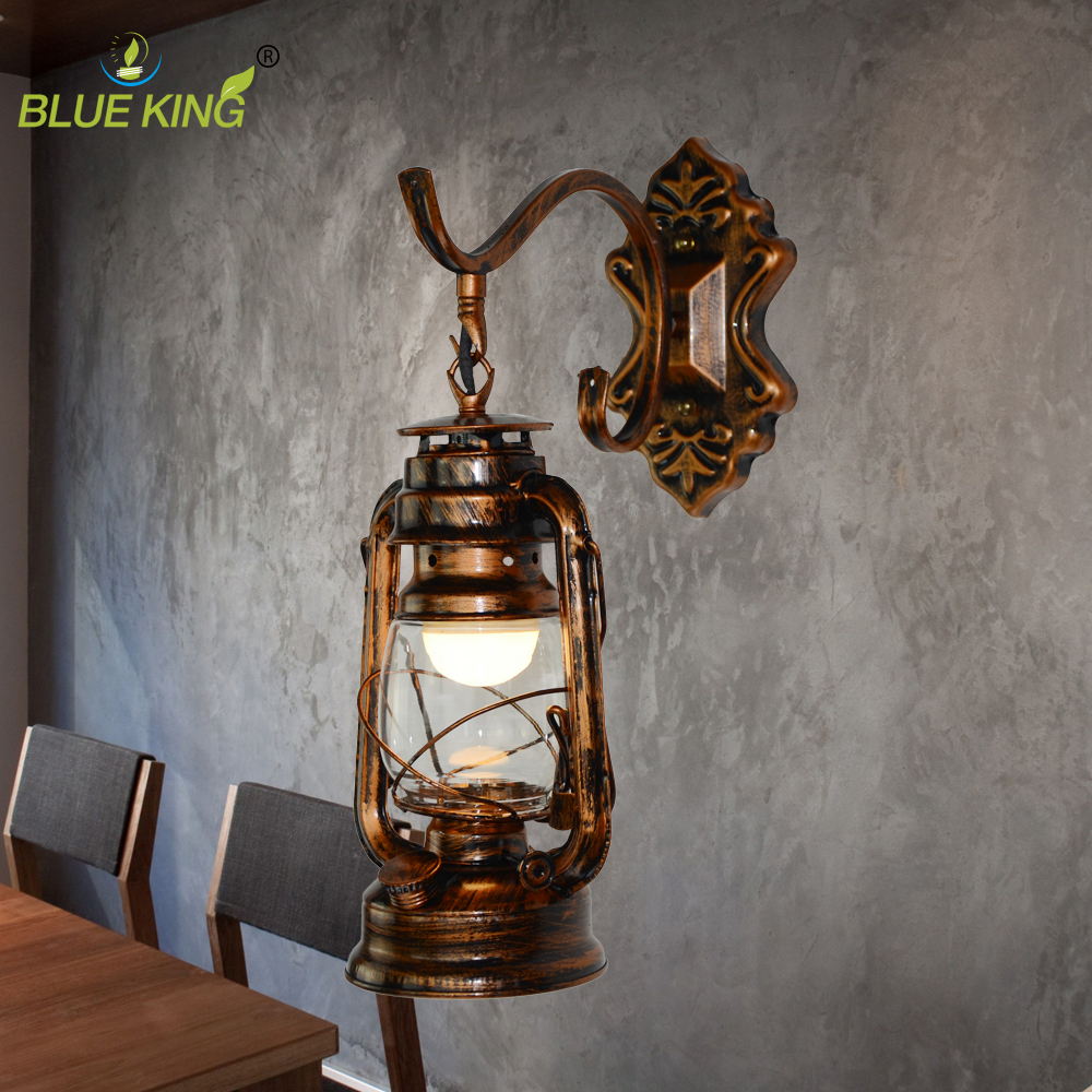 Vintage Retro Bronze Electric Iron Lantern Kerosene Wall
