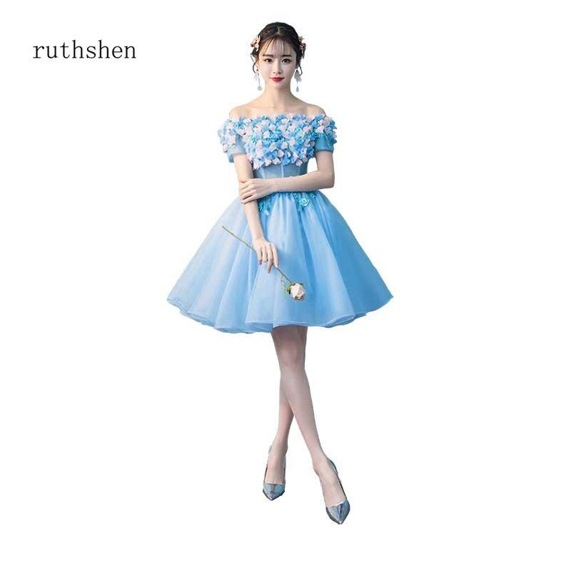 ruthshen Handmade Flowers Short   Cocktail     Dresses   2018 Off The Shoulder Party Prom   Dresses   Special Occasion   Dress   Vestido Coctel