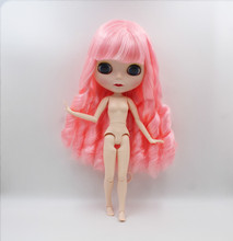 цена Blygirl,Pink curly hair,Blyth doll, new doll face shell 19 joint body, 1/6 30cm nude doll, gift toy