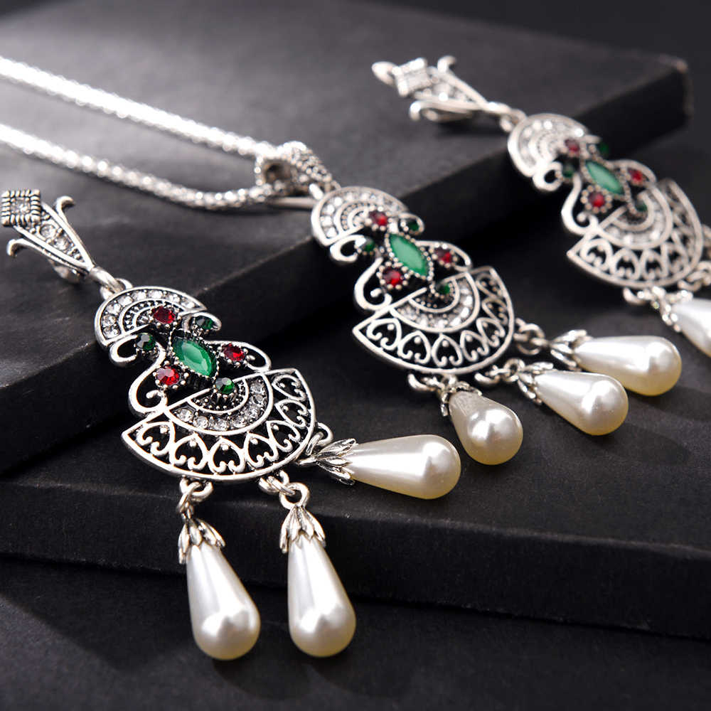 Ethnic Vintage Tibetan Silver Green Crystal Pearls Pendant Earring and Necklace Set for Bride Women Bridesmaid Wedding Jewelry