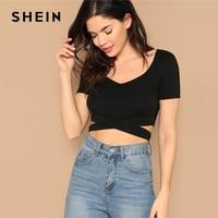 deac8a4ee27 SHEIN Sexy Black V Neck Criss-cross Form Fitting Crop Slim Fit Plain Tee  Tshirt