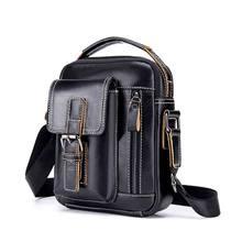 Pria Kulit Asli Fashion Kasual Messenger Tas Warna Solid Bisnis Berkualitas  Tinggi Tas Travel Kapasitas Besar Tas Bahu 8140c895eb