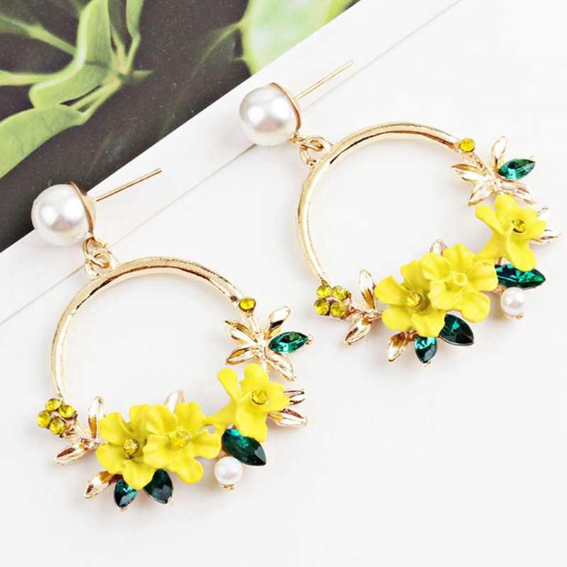 2019 Korea Polymer Clay Cherry Blossom Flower Big Circle Hoop Earrings Rhinestone Trim Pearl Earrings For Women Party Gift