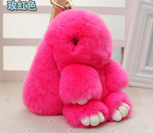 10 Color Real Genuine Rex rabbit Furs Keychain Pendant Bag Car Charm Tag Cute Mini Rabbit