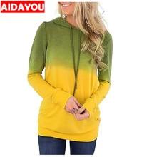 Women Hoodies-Tops Floral Pullover Printed Long Sleeve Drawstring Sweatshirt with Pocket