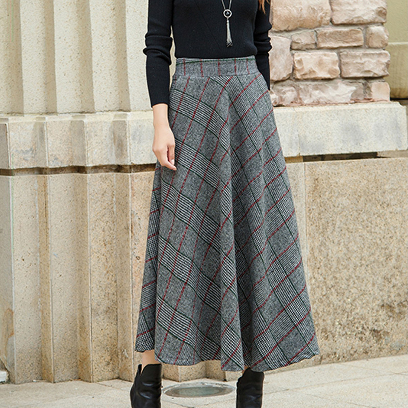 e534a1317be6 Plaid Woolen Skirt Women Long A Line Skirt British Style Wool Skirts Kilt  Winter Vintage Tartan Umbrella Grid Skirts With Lining-in Skirts from  Women's …