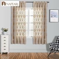LOZUJOJU Европейский Короткие шторы для гостиная элегантный панель капли спальня оконные рамы коричневый цвет тюль ткань Прозрачный цветочный