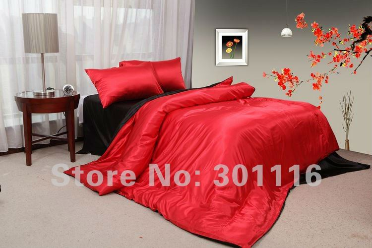 fashion summer bedding 100  cool red and black imitated