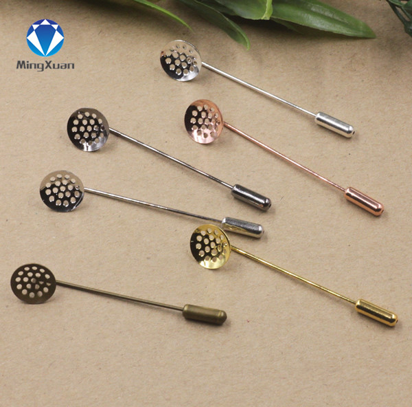 MINGXUAN 10pcs/lot 12mm round blank tray vintage copper <font><b>5</b></font> colors plated 50mm long brooch pin base settings <font><b>diy</b></font> jewelry image